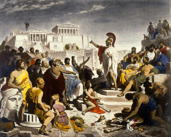 painting of public meeting in ancient Greece