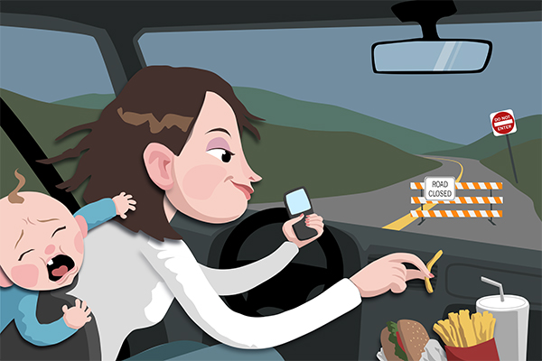 phones smoking  distractions  affect driving  studies  research  texas