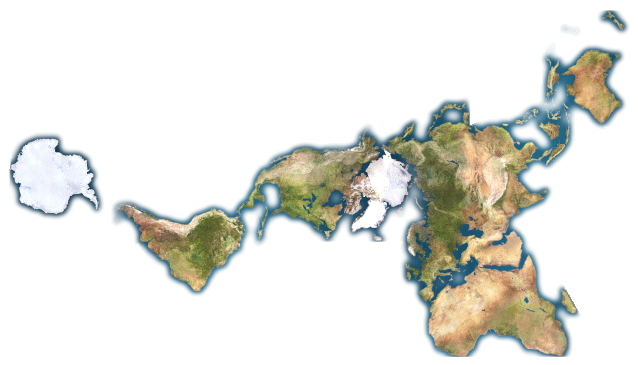 dymaxion map of the world without oceans