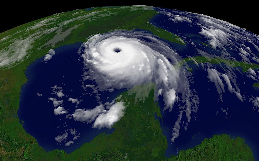 Satellite photo of hurricane in Gulf of Mexico