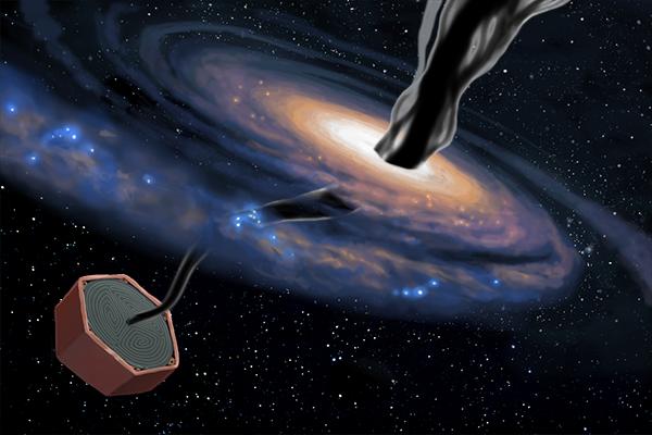 Illustration of dark matter penetrating a spiral galaxy.