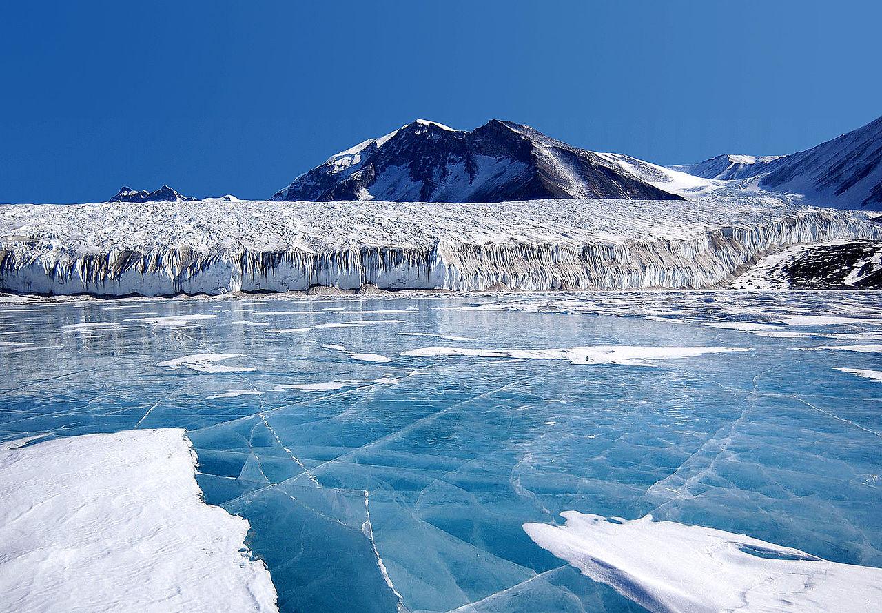 frozen lake near an ice shelf