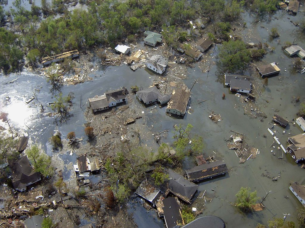 aerial view of home destroyed by hurricane