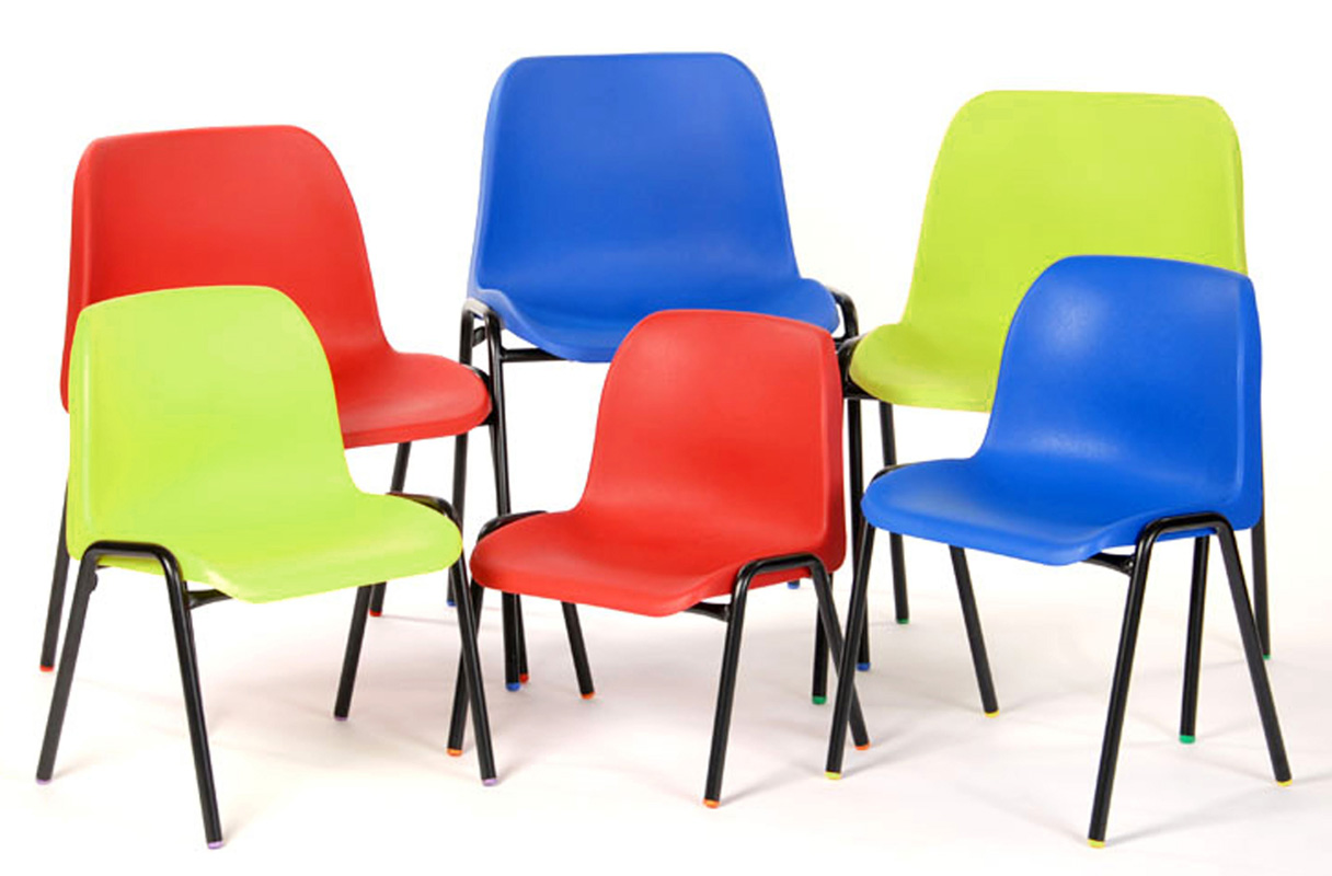 six plastic chairs