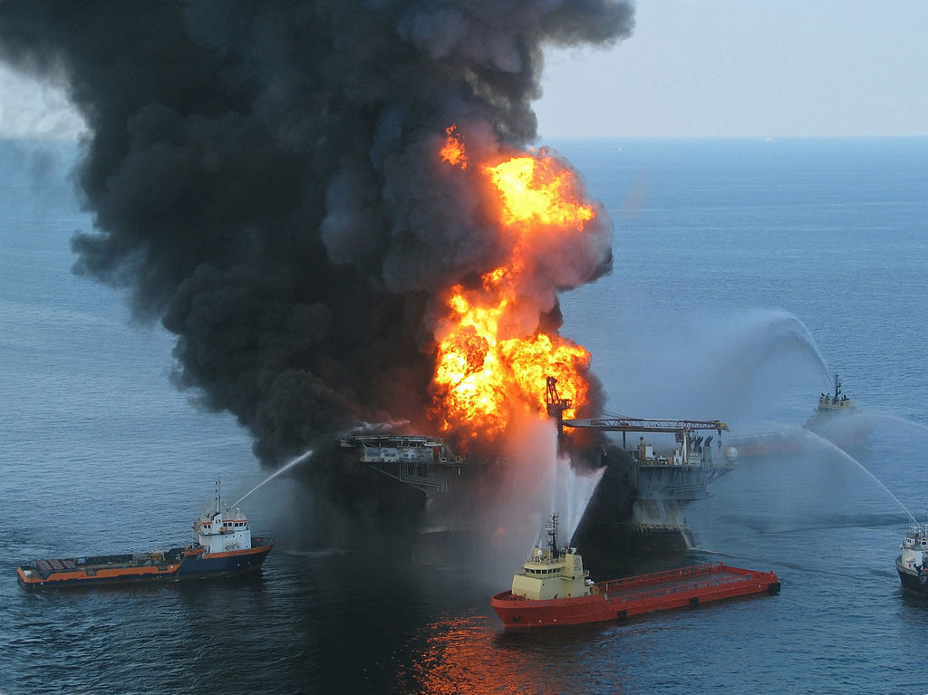 oil rig on fire