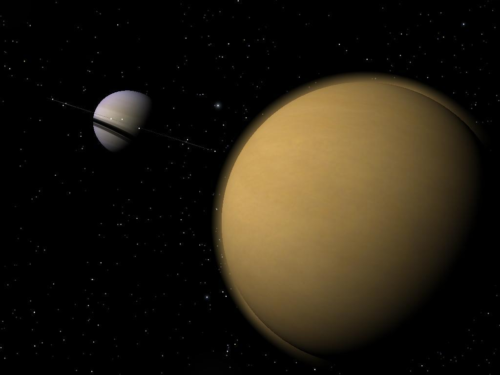 artist's rendering of the moon Titan and the planet Saturn