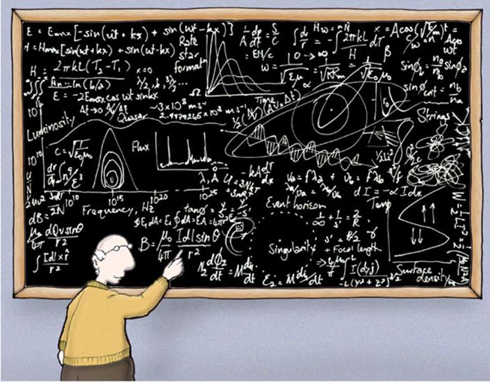 professor writes equations on blackboard