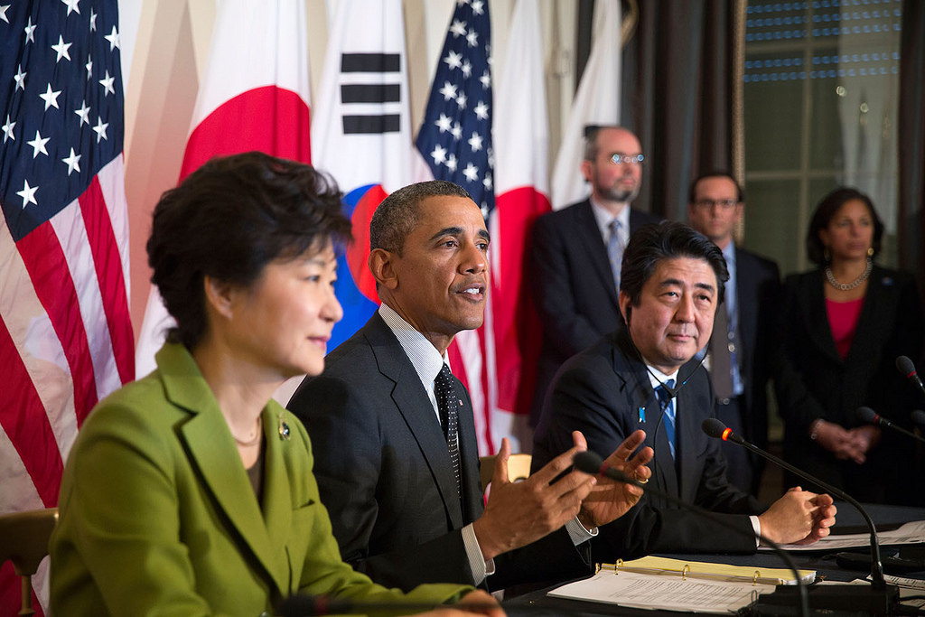 President Obama at news conference with leaders from Japan and South Korea
