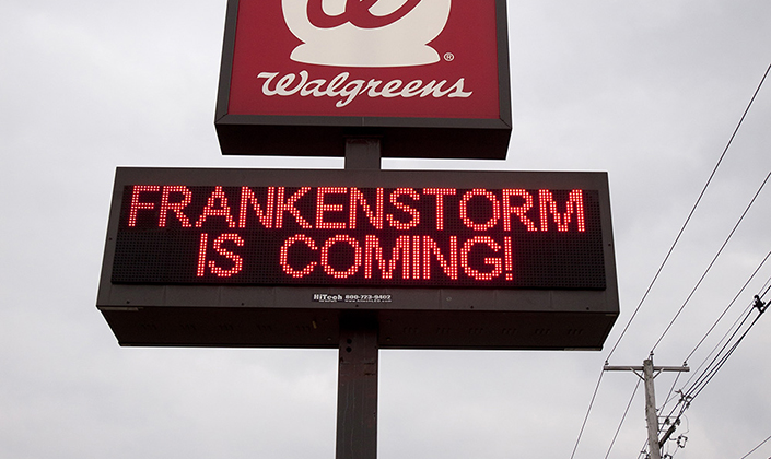 "Electronic sign reads ""Frankenstorm is coming!"""