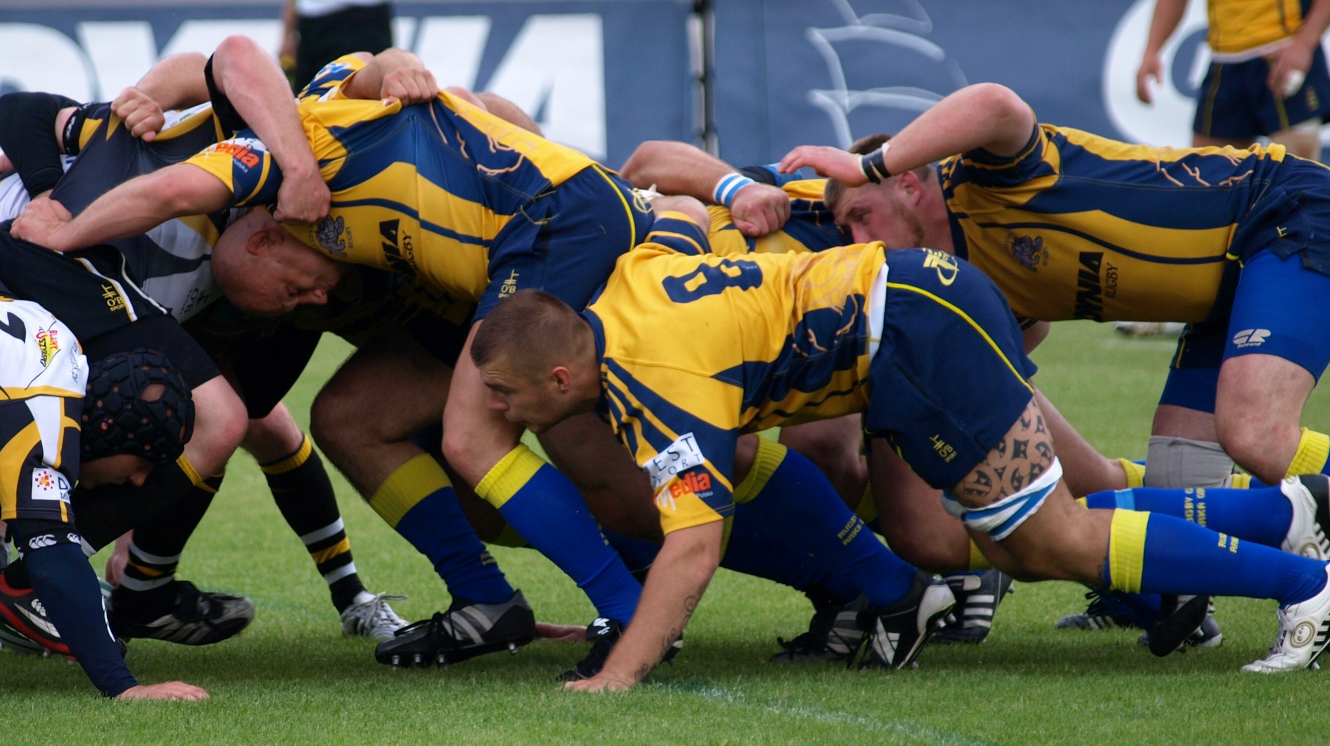 rugby played engage in a scrum