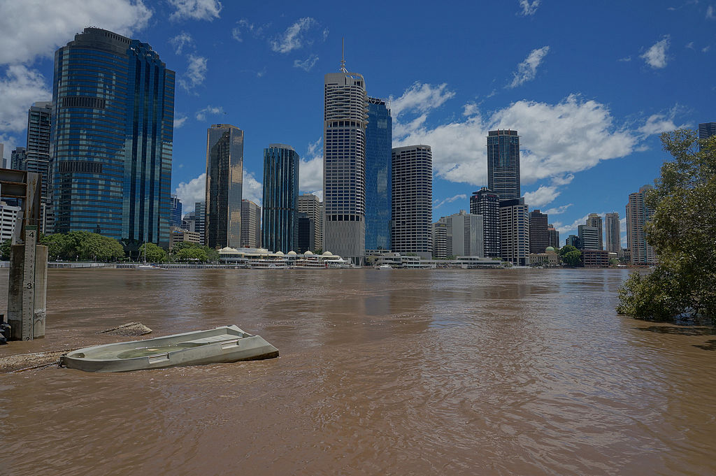 flood waters run through a major city