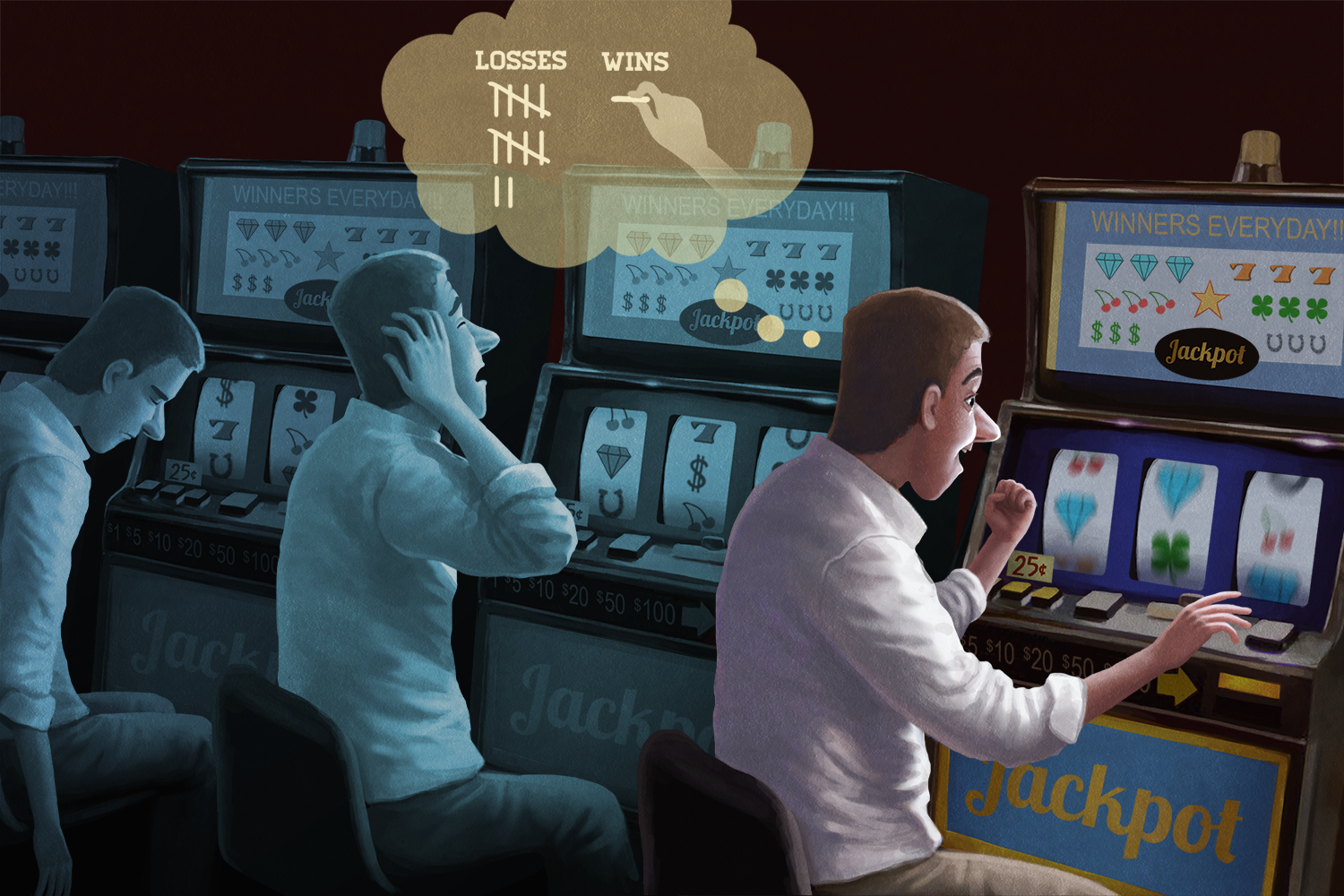 illustration of men sitting at slot machines
