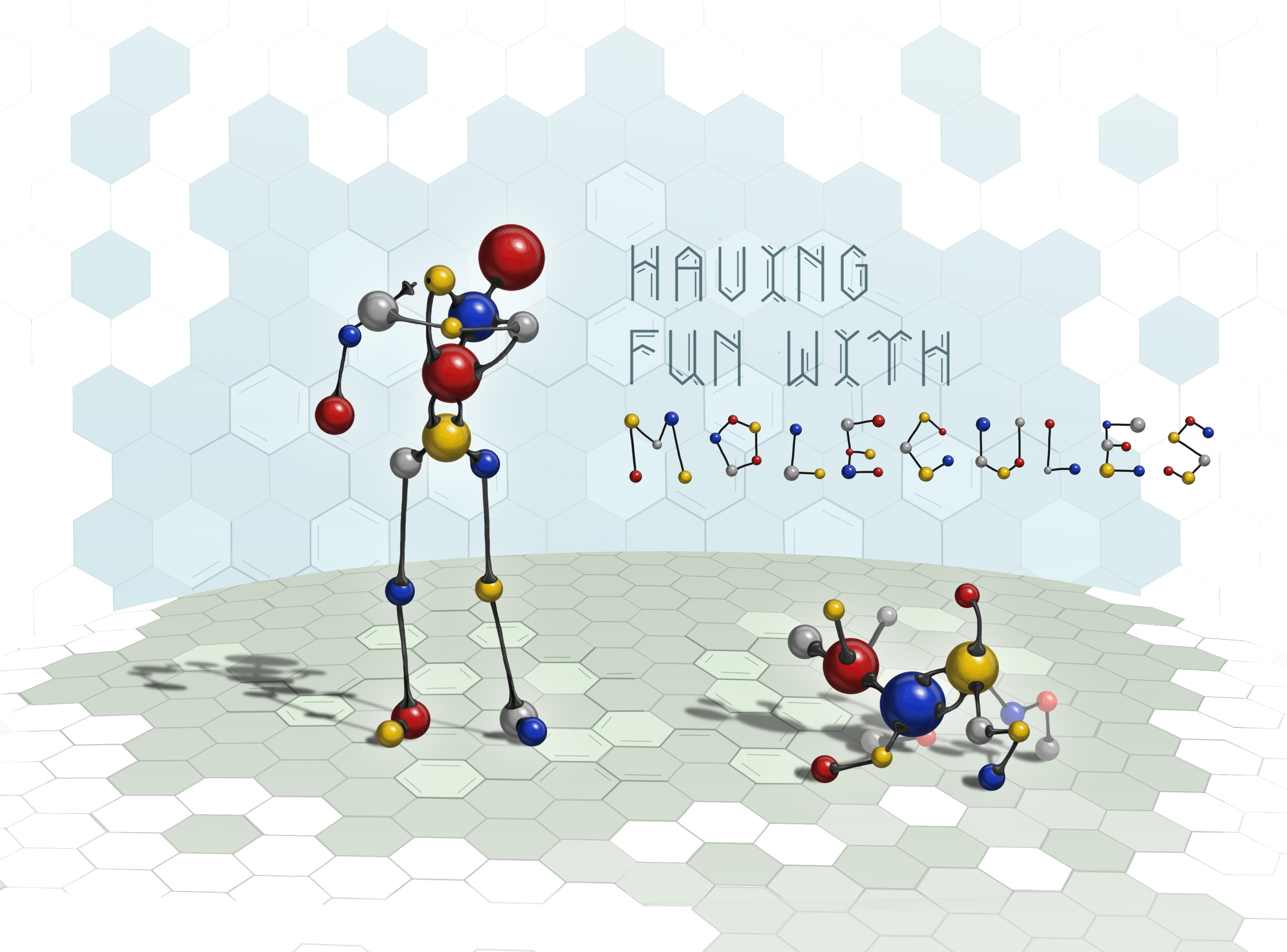 illustration of a stick figure of a man and a dog, representing molecules