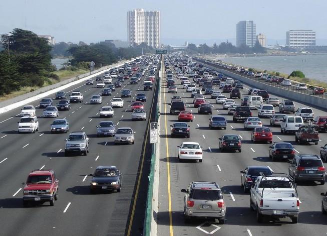 traffic congestion on a city freeway