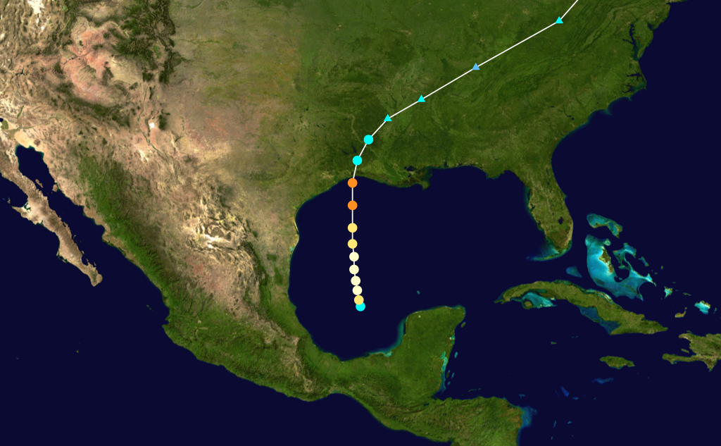 a map showing the path of Hurricane Audrey