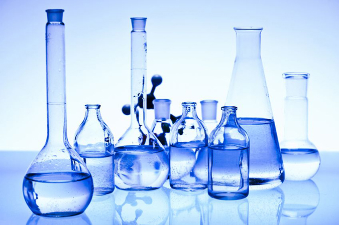 several beakers on a lab table