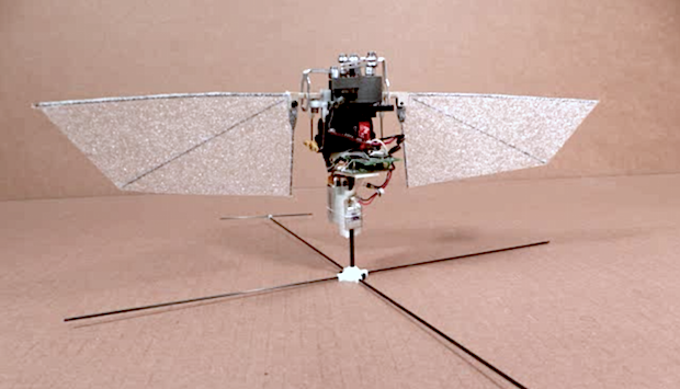 a small robot with two flappable wings