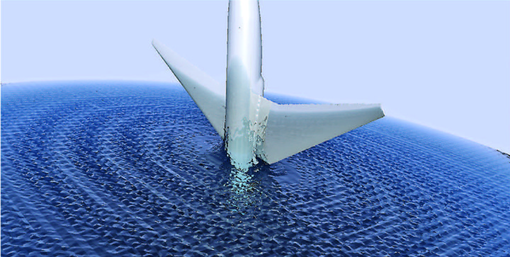 computer simulation of passenger jet taking a nosedive into ocean
