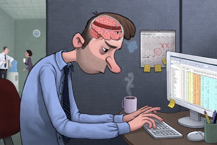 illustration of a man working at a computer while is brain tires from the effort