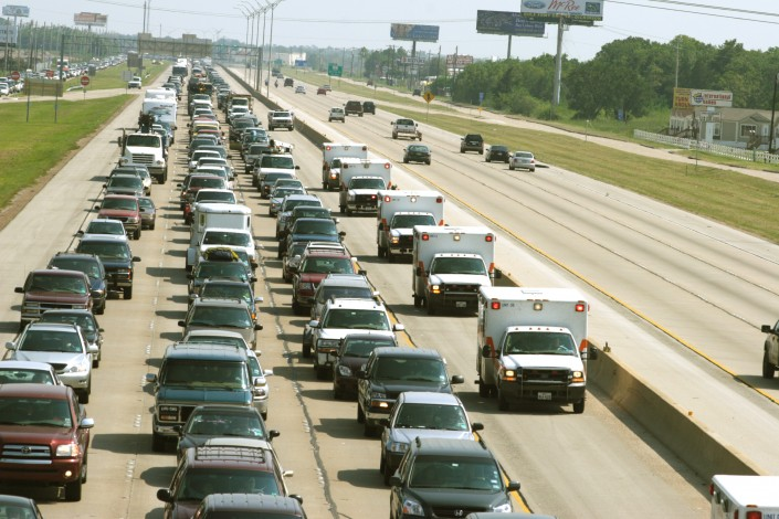 Thousands of cars caught in a traffic jam on an interstate highway