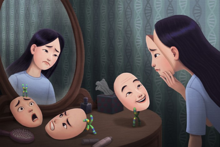 In an illustration, a woman tries on several different faces as she looks in a mirror.