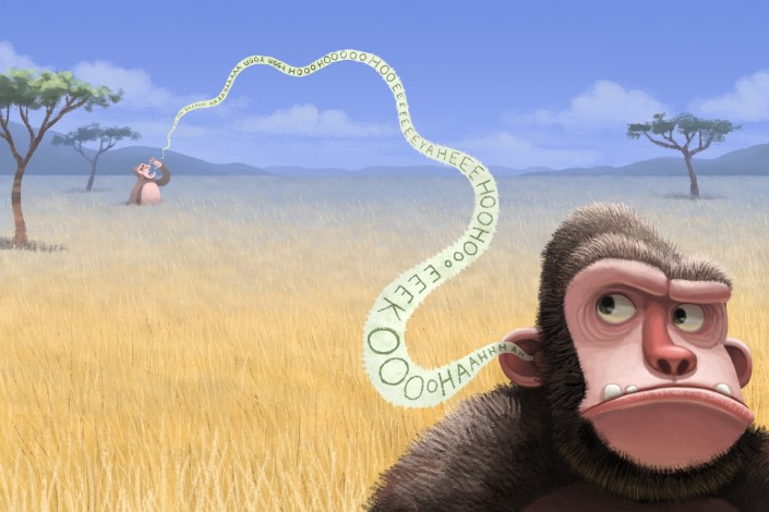 Illustration of an ape listening to sounds made by another ape in the distance