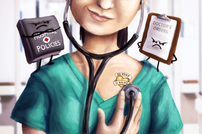 Illustration of a nurse deciding whether to strictly follow rules and procedures