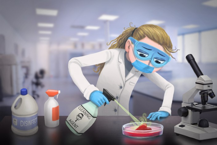 "illustration of a researcher testing chemicals on a ""heart cell"""