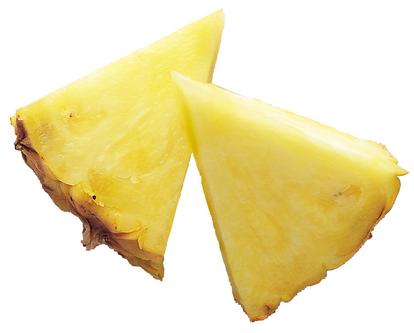 Two slices of pineapple fruit