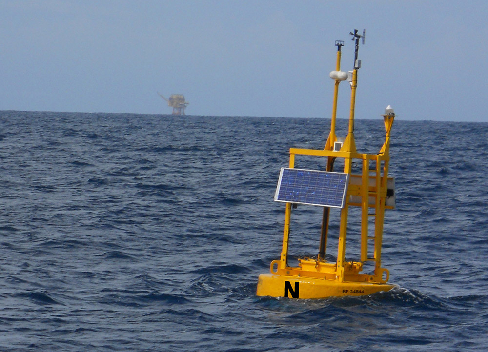 a buoy collects data from the ocean