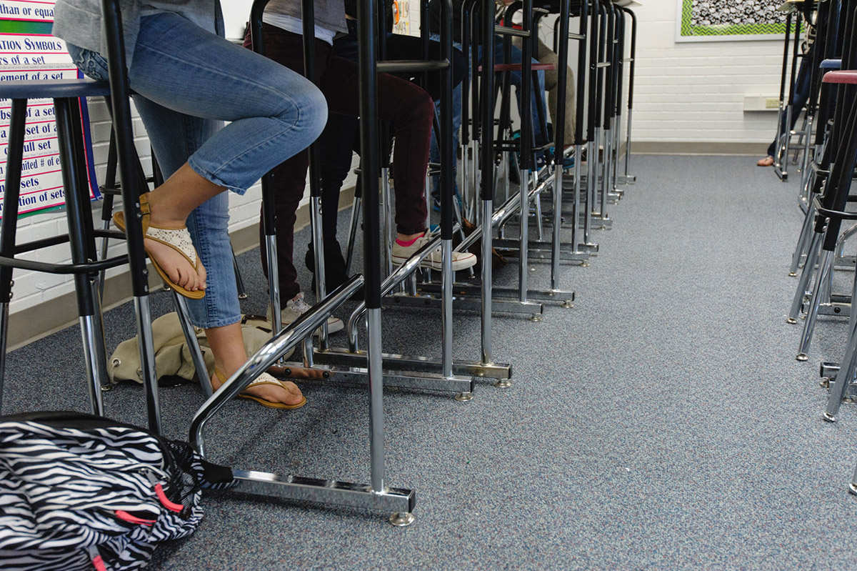 Students Legs Under Standing Desks