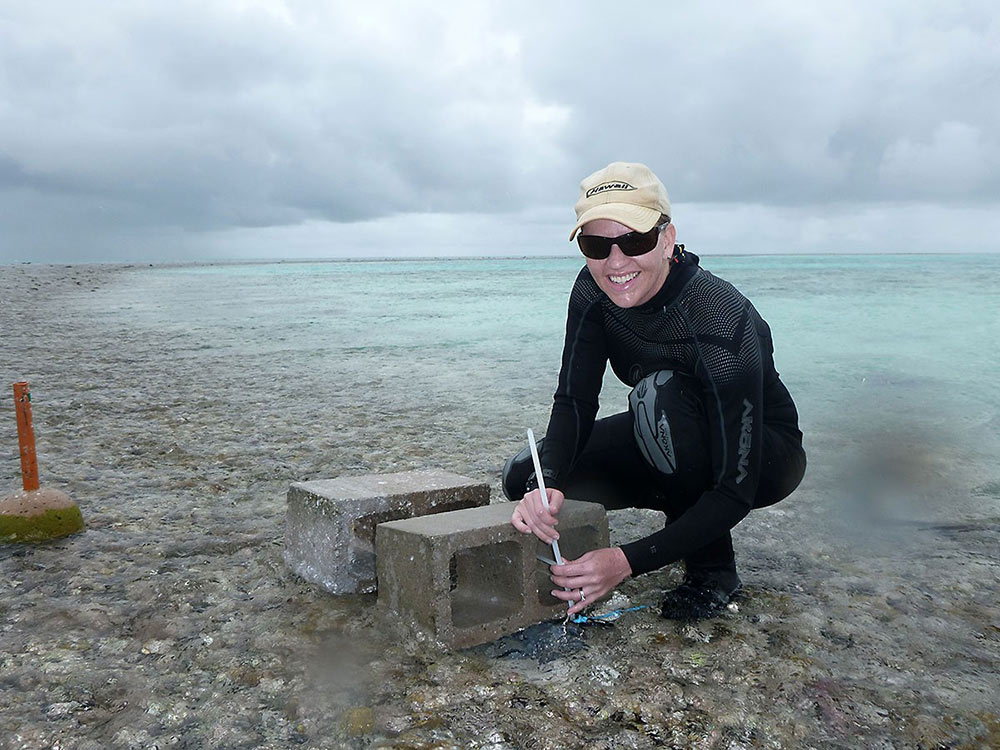 Professor Shamberger secures a conductivity, temperature, and depth sensor to One Tree Reef