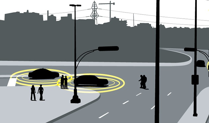 Illustration of automated cars on a city street