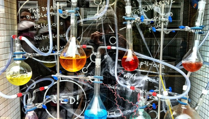 beakers and vials in a chemistry lab