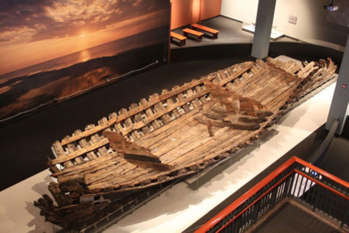 remains of the hull of a 17th century wooden ship