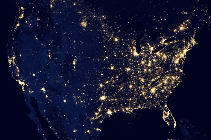 city lights in the United States seen from space