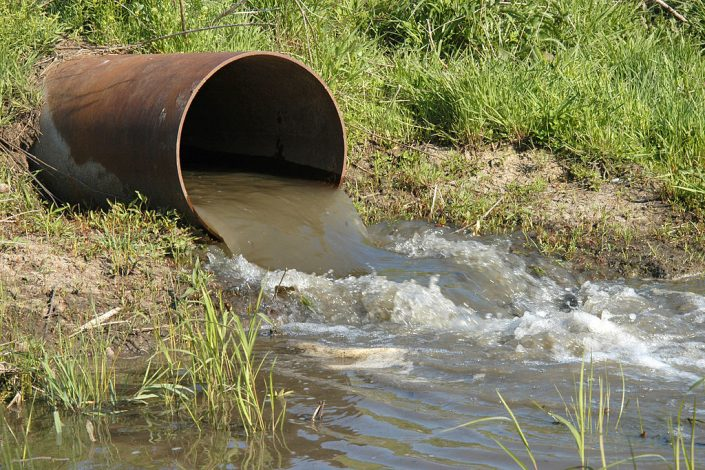 wastewater flows from discharge pipe
