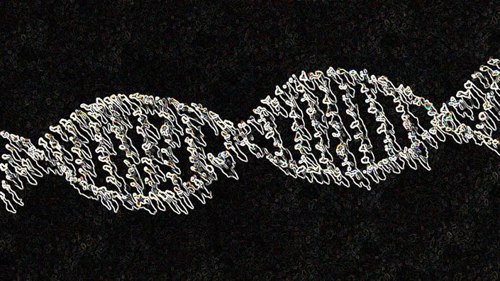 people standing in the shape of a DNA helix