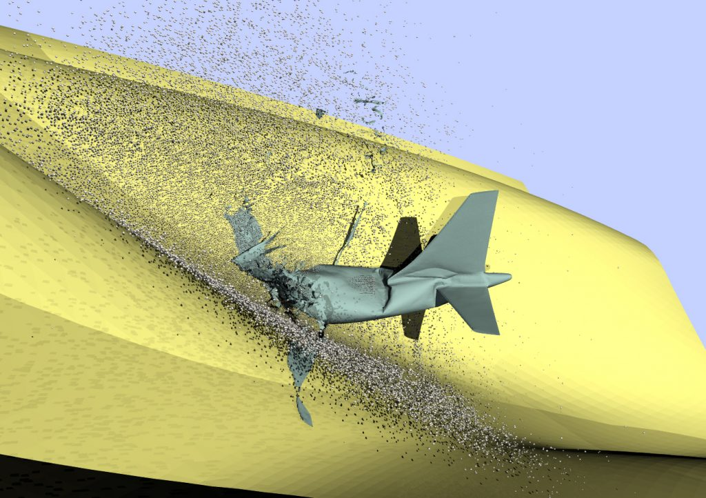 Simulation of aircraft hitting mountainside