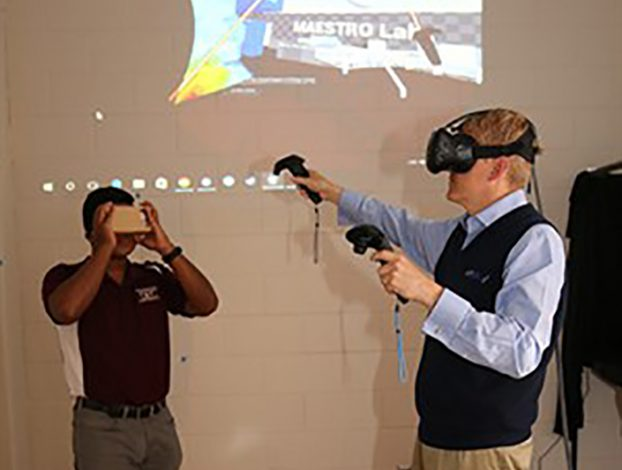 man records images as another works with virtual reality technology