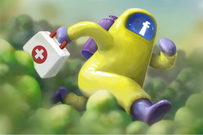 Illustration of figure in hazmat suit racing through a virus