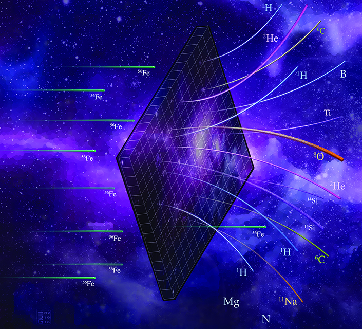 diagram of space radiation penetrating material