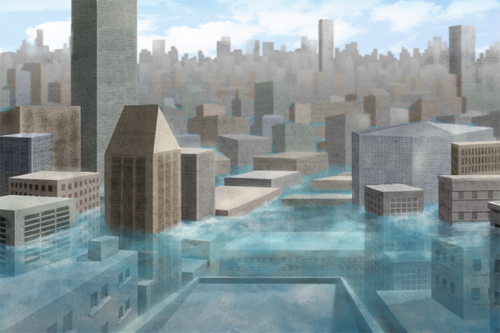 illustration of flooding in a major city