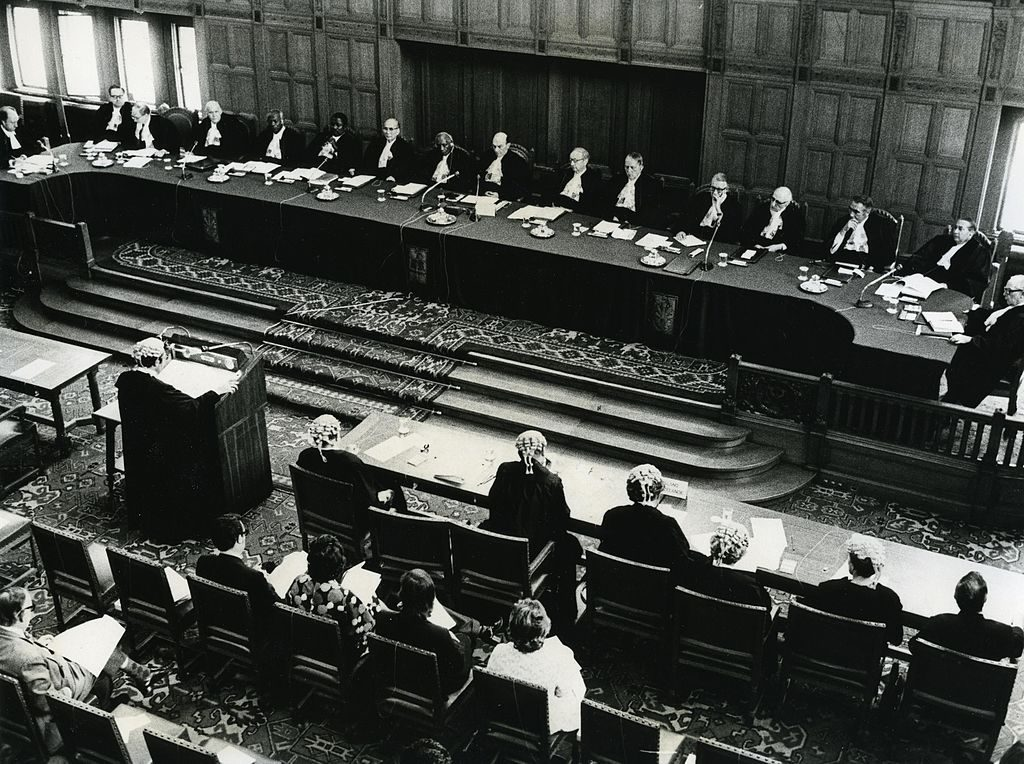 judges and lawyers in a courtroom