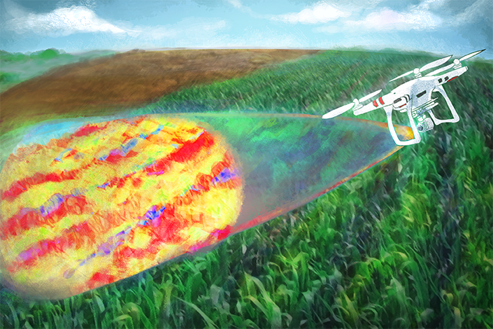 Illustration of drone taking 3D images of crops
