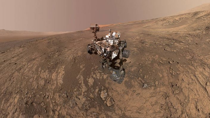 Robotic rover on surface of Mars