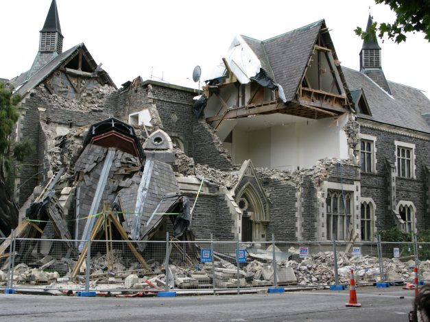 a church damaged by an earthquake