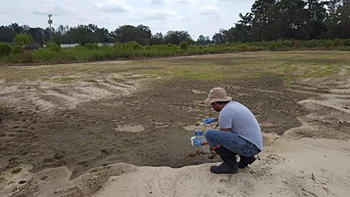 field scientist takes chemical samples from soil