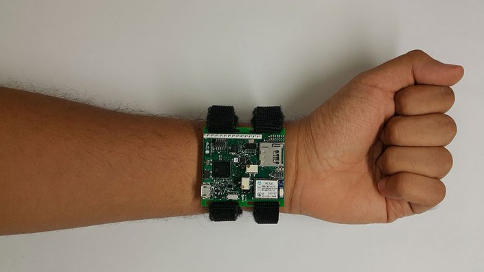 Image of prototype for wrist-worn, cuffless blood pressure monitoring system