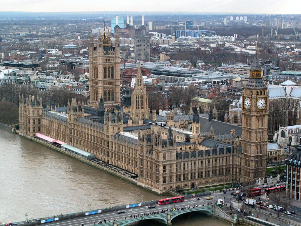Aerial view of Westminster Palace in London